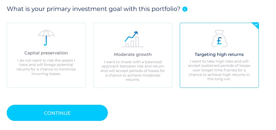 Choosing a goal via an AI investment platform